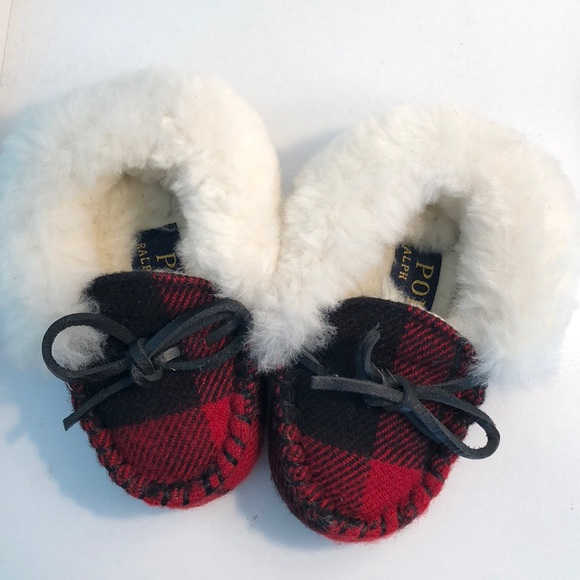 Polo by Ralph Lauren Other - Polo Ralph Lauren Baby Slippers Red Plaid Fur Gift